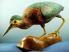 Woodcarving of a Green Heron by glassnwood on Etsy, $1200.00