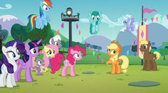 My Little Pony - Friendship Across Equestria still 1 Rainbow Dash, Fluttershy, Mlp, Mane Attraction, Pinkie Pie, My Little Pony Friendship, Twilight Sparkle, Fictional Characters, Cherry Apple