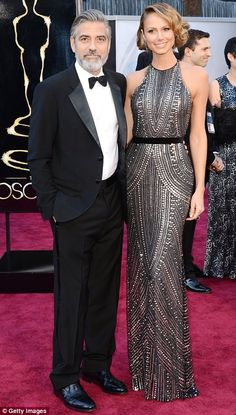 George Clooney & Stacy Keibler - seriously, I can't decide who I am more jealous of... @ the 2013 Oscars --www.dailymail.co.uk
