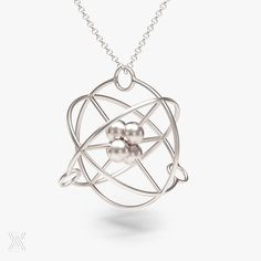 science jewelry: silver atom necklace  chemistry by somersault1824