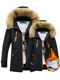 Couples Long Sleeve Thicken Hooded Pockets Winter Cotton Warm Coat