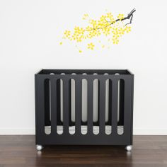 Crib via Little Helsinki Baby Furniture, Cool Furniture, Nursery Room, Baby Room, Nursery Ideas, Kids Bunk Beds, Black Bedding, All Things Cute, Wood Toys