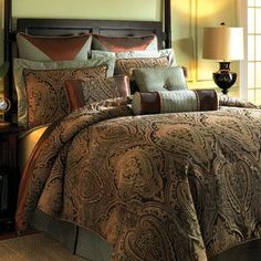 Bring elegance to your home with this Elizabeth Comforter; this set will look great in traditional home décor. This set is made of rayon and polyester, which ensures durability. This set is a stunning presentation of paisley, scrolls, damask, and chenille floral. The chenille damask with blue and gold frame pattern enhances its charming look. It includes reversible comforter which flaunts a beautiful gold tone damask pattern. It features hidden zippers for easy wash. The pillows have feather