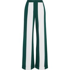 Monse Striped silk-blend crepe wide-leg pants (32,385 MXN) ❤ liked on Polyvore featuring pants, trousers, bottoms, green, forest green, high-waisted wide leg pants, striped wide leg pants, white high waisted trousers, stripe pants and forest green pants