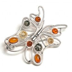 Multi Amber and Silver Butterfly Circle Brooch