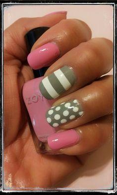 Pink and Gray Stripes & Dots Nails