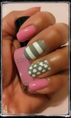 Pink and Gray Stripes & Dots Nails