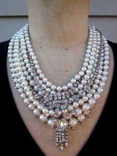 Vintage Pearl Necklace Rhinestone Necklace by lazthespaz