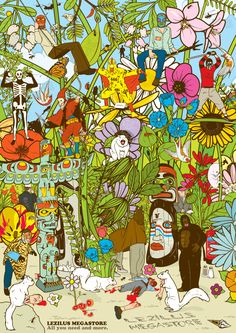 JUNGLE FEVER.  Lezilus is my representative.  This illustration took me three weeks to finish. There are a lot of details in the image, and Taschen published the image in its book Illustration Now vol.2.