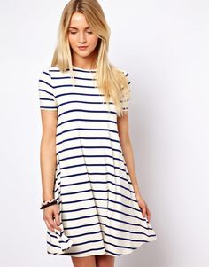 Swing Dress In Stripe Print