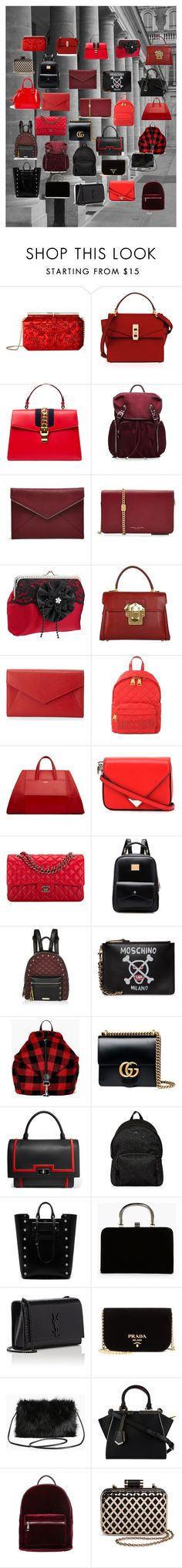 """""""RED&BLACK"""" by btg2001 ❤ liked on Polyvore featuring Oscar de la Renta, Henri Bendel, Gucci, M Z Wallace, Rebecca Minkoff, Marc Jacobs, Dolce&Gabbana, Neiman Marcus, Moschino and Alexander Wang"""