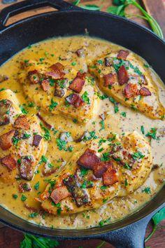 Creamy Bacon Honey Dijon Skillet Chicken Recipe : A quick and easy skillet chicken dinner in a creamy honey dijon and bacon pan sauce! Chicken Skillet Recipes, Turkey Recipes, Meat Recipes, Dinner Recipes, Cooking Recipes, Healthy Recipes, Dinner Entrees, Healthy Eats, Dinner Ideas