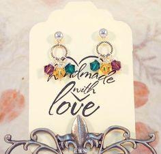 Mardi Gras Earrings  Sterling Silver Post Earrings by CKDesignsUS