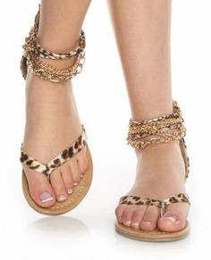 CityClassified Kippy Tan Leopard Ankle Chain Thong Sandals