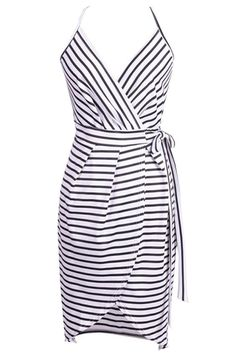 Women's Spaghetti Strap V Neck Surplice Stripe Dress