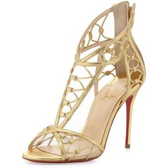 Christian Louboutin Martha Metallic Napa Red-Sole Sandal ($1,495) ❤ liked on Polyvore featuring shoes, sandals, heels, christian louboutin, metallic high heel sandals, metallic heel sandals, christian louboutin sandals, open toe high heel sandals and high heeled footwear