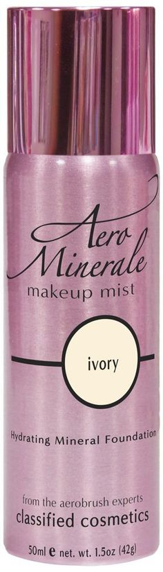 Aero Minerale Foundation Makeup Mist, Ivory. Hydrating mineral foundation infused with aloe. Moisturizing vitamins and botanicals. Long-wearing, oil-free. Product good for 24 months after opening. From the inventors of aerosol airbrush makeup.