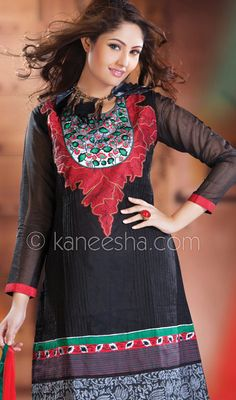 Black Cotton Churidar Dress with Lace Work Price: Usa Dollar $91, British UK Pound £54, Euro67, Canada CA$99 , Indian Rs4914.