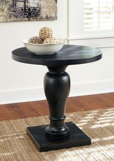 Rustic Accents - Black - Round End Table