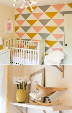 love this modern baby girl nursery design. could switch out the coral for a blue for a baby boy nursery