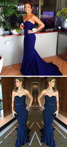 Simple prom dresses Sweetheart bridesmaid dresses Navy Blue Mermaid Prom Dress with Sash Sweep Train