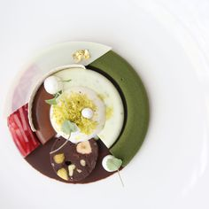 """Valrhona C3: Guanaja 70% Bavaroise with Guanaja Cremeux, Opalys and Coconut Sorbet, """"Big"""" Apple, Atsina Cress and Brownie"""" Plated Dessert by Pastry Chef Frederik Borgskog from Sweden"""