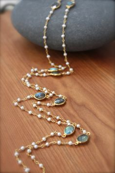 7e89cfddc STUNNING Freshwater Pearl and Bezelled Labradorite Necklace- Gold Filled by  Yania Creations on Etsy,
