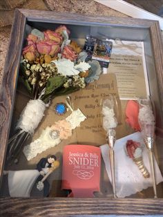 Wedding shadow box. Like the idea with a little less clutter