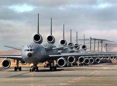 six KC-10A Extenders, three C-17 Globemaster IIIs, and three C-5 Galaxies