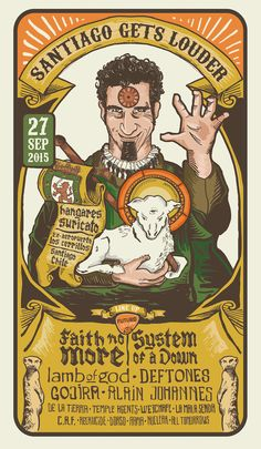 Santiago Gets Louder - Rock Festival Poster. Faith No More and System of a Down Gig Poster. Jofre Conjota on Behance