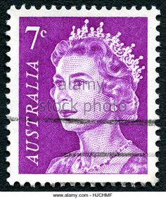 AUSTRALIA - CIRCA 1970: A used 7 cent postage stamp from Australia, depicting a portrait of Queen Elizabeth II, - Stock Image