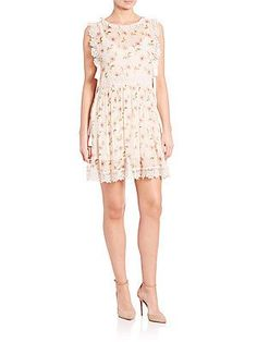 RED Valentino Lace-Trimmed Boxy Dress - Ivory - Size