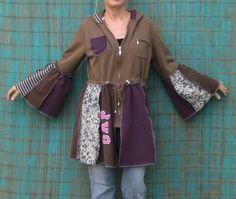 Upcycled Hoodie Ruffled hem and sleeves Tunic by AnikaDesigns, $55.00