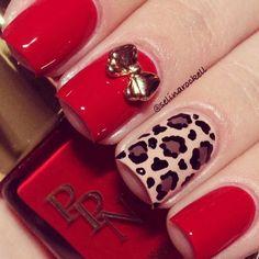 Red nail with cheetah print via Websta Different Nail Designs, Colorful Nail Designs, Nail Art Designs, Cheetah Nail Designs, Cheetah Nails, Love Nails, Red Nails, Pretty Nails, Hello Nails