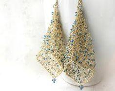 Gold wire crochet earrings on Etsy Wire Wrapped Earrings, Wire Earrings, Crochet Earrings, Wire Crochet, Crochet Wire Jewelry, Knitted Jewelry, Textile Jewelry, Thread Jewellery, Earring Tutorial