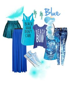 """""""The colour blue"""" by amypaul713 ❤ liked on Polyvore featuring Topshop, Wildfox, Converse, Eos, Charlotte Russe and rainbow"""
