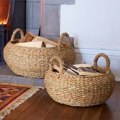 Round Jute Works Baskets - Set of 2 - Natural Collection Select