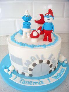 """""""Şirinler"""" Temalı Butik Doğumgünü Pastası.! Smurfs birthday cake.!"""
