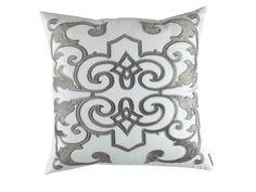 Mozart Decorative White Linen / Silver Velvet (24 x 24) L277SWS