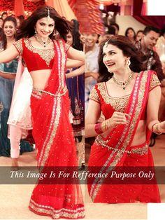Red Multy Work Net Bollywood Designer Saree By Thankar Bollywood Sarees