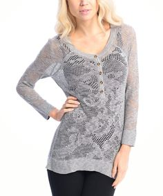 This Gray Sheer Lace Henley by VICE VERSA is perfect! #zulilyfinds