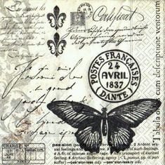 Paper Napkins -Butterfly Poetry- for Party, Decoupage Decopatch Craft Paper Napkins For Decoupage, Decoupage Vintage, Vintage Paper, Vintage Labels, Vintage Ephemera, Butterfly Black And White, Vintage Images, Vintage Pictures, Etiquette Vintage