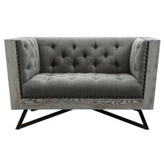 LEGACY COMMERCIAL HOLDIN Regis Grey Fabric Contemporary Chair with Black Metal Legs and Antique Brown Nailhead Accents