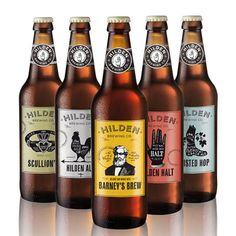 """Hilden Brewing Co. BREWING COMPANY IDENTITY -  """"It's not every day you get the opportunity to work with Ireland's oldest independent brewery, so after successfully winning the Hilden Brewing Company account, we proceeded to fully rebrand the company and create an exciting new range of beer labels."""" - Elm House Creative - #beer #packaging"""