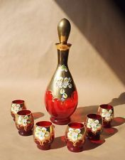 Vintage Venetian Red Glass Decanter Gold and Painted Decoration Six Glasses