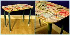 Teakbord ReDesignet med Tapet og Maling. Teak Tables Redesigned with Wallpaper and paint. Eijffinger wallpaper from PipStudio.