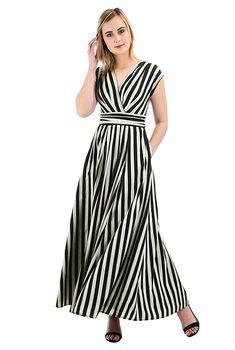 3d6b1242dd1 Bold stripe crepe surplice maxi dress. Petite DressesPlus Size ...