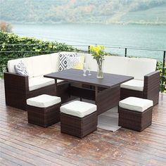 Wisteria Lane Patio Sectional Furniture Pcs Outdoor Conversation Set All Weather Wicker Sofa Table Chair Stool,Brown Plywood Furniture, Sectional Patio Furniture, Patio Furniture Sets, Furniture Layout, Furniture Ideas, Furniture Design, Nice Furniture, Rustic Furniture, Garden Furniture