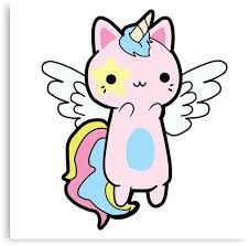 'Kawaii Cat Unicorn Fly' Canvas Print by MoniCaniLore Unicorn Painting, Unicorn Drawing, Unicorn Cat, Cat Drawing, Chibi, Unicorn Pictures, Kawaii Doodles, Kawaii Cat, Anime Cat