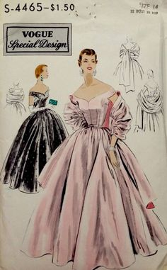 VSD S-4465 GOWN Off Shoulder Stole 1953 1Pc dress & stole.A very full skirt is gathered & joins the bodice at waistline.Low off the shoulder neckline,front & back.Tiny cap sleeves cut in one with the bodice.Stole has gathered center section joined to straight ends. Sz14/32/35 6pcs sld 50.5+fr 12bds 7/9/15